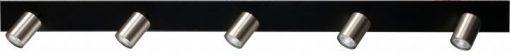 Bounce Masterlight 5 lichts Balk zwart/staal zwart/mat goud of zwart/zwart