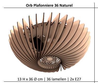 Orb Plafonniere 36 cm Naturel Blij Design